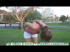 Sofia sexy blonde babe getting naked outdoor and flashing tits and ass and pussy