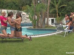 Outdoor lesbian orgy with Rachel Roxxx & more