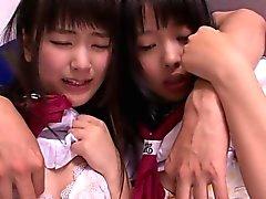 Tiny nippon schoolgirls sucking cock in trio
