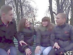 Incredible group sex action with tiny Russian teen