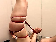 Extreme dildo anal fuck with rope BDSM teacher