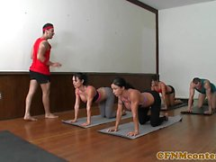 Bossy CFNM babes cumswapping after yoga class