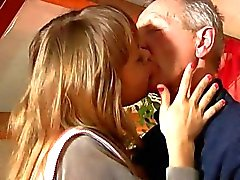 Sexy blond teen Lisa suck an old cock