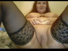 Sexy Mom masturbirut on webcam. Big tits.stockings . Milf
