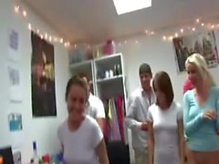 Group of horny girls sexing on college