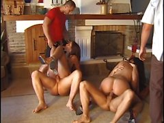 Smoking hot orgy in the kitchen