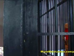 Hot lesbian sluts lick and toy each other in jail