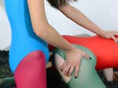Hairy girl2girl in nylon pants loving