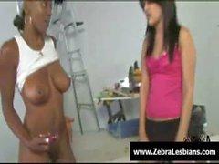 Zebra Girls - Ebony lesbian babes fuck deep strap-on toy 03