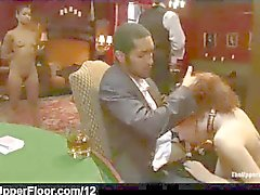 redhead slave sucks huge black cock in the upper floor