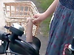 Asian teen sweeties getting twats all wet while riding the bike