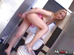 Blonde Aaralyn Barra is in the bathroom getting ass fucked and sucking
