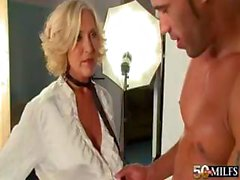 Mature blonde cougar photographer gives up her ass to fuck