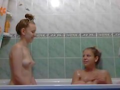 Russian teen playing in bathroom