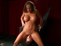 Richelle Ryan babe sitting on the face of the magician