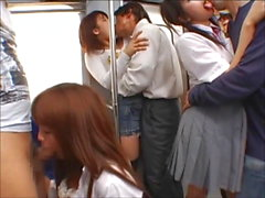 Train Commuter Tongue Kissing Orgy!