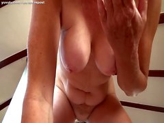 cougar milks huge cock to lubricate her pussy