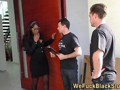 Black slut gets facial