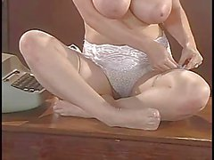 Lorna Morgan Strips Her Lingerie And Poses On The Desk