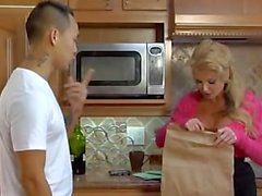 Busty blonde deep ride in the kitchen