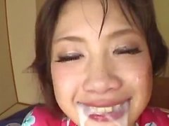 Japanese busty is roughly pumped in mouth and