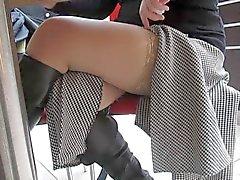 Flashing stockings in public cafe