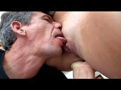 Lucky old dude with huge dick gets hot blowjob service from young slut