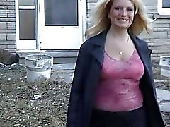 Chubby wife flashes huge boobs in her backyard