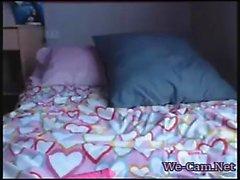 Amateur shy horny teen masturbates on webcam chat