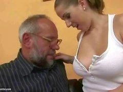 Busty teen seducing a lucky grandpa