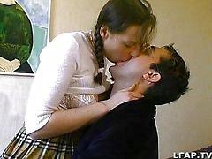 Francés en pareja amateur teniendo sexo en el lecho