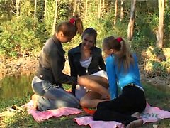 Lesbian threesome outdoor