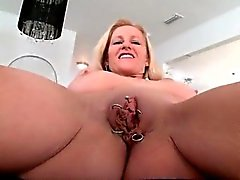 Busty blonde milf goes crazy showing off