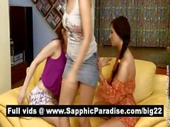 Megan and Lisettea and Kirsten lesbians kissing in a great three way lesbian orgy