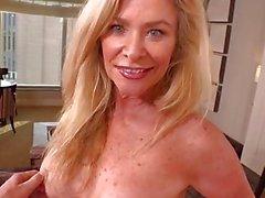Busty hot blonde cougar fucks POV