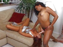 Horny girls with strap-on