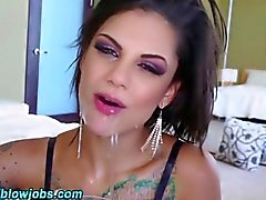 brunette babe has a dick in her wet mouth