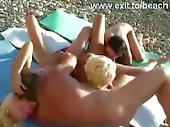 Public Swinger Foursome on Nude Beach