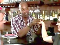 Horny MILF makes husband watch her sucking the black barman