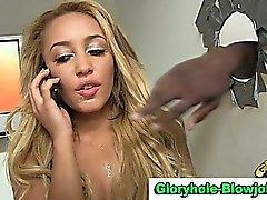 Interracial gloryhole slut facialized