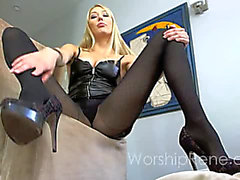 Princess Rene humiliation JOI fearsome-menacing solo ribald talk foot fetish feet blond hose nylon softcore