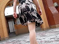 Stockings upskirt on a windy day