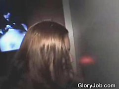 Brunette Amateur Down On Her Knees At A Glory Hole