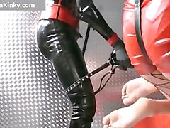 Dirty Carmen in hot latex stuffing guy part3