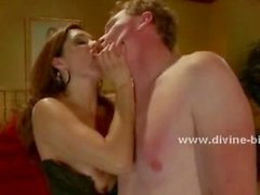 Horny mistress with great looks teasing slave and fucking her lov