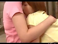 2 Busty Girls Kissing Patting On The Mattress In The Basement