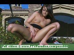 Kristin naughty brunette babe fingering pussy outdoor