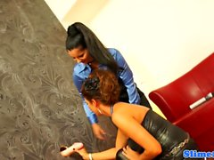 Lesbian babes cumdrenched at the gloryhole