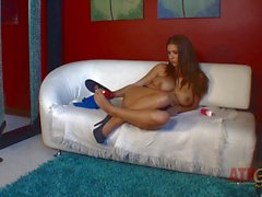 Alex Chance rubs her Big Tits and bare feet