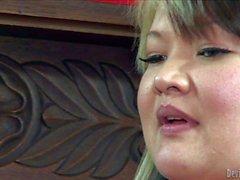 Fat asian mom Kelly Shibari shows her titties